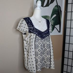 Maeve Mexican Style Boho Aztec Embroidered Top